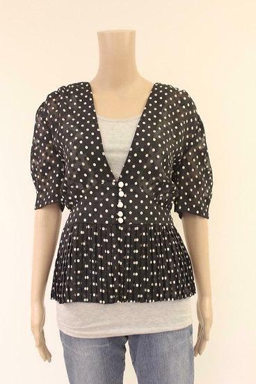 Zwarte blouse met witte stippen maat 40