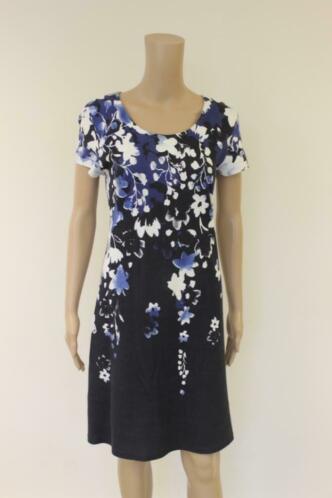 Betty Barclay - blauw gebloemde jurk, maat 40
