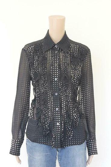 Ambiente - Zwart/roomwitte zijden blouse, maat 40