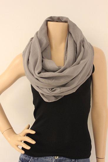 Grijze sjaal met goudkleurige blingbling steentjes