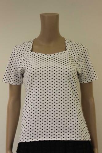 Sonix wit/zwart gestipt t-shirt maat 40