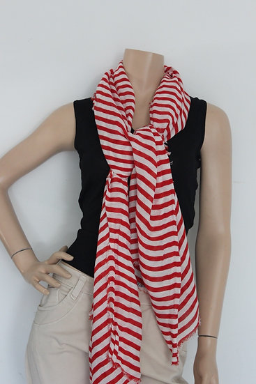 Rood/wit gestreepte sjaal