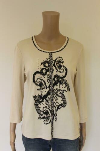 Gerry Weber beige/zwart t-shirt maat 40
