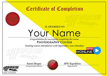 SPW Photography Course Certificate