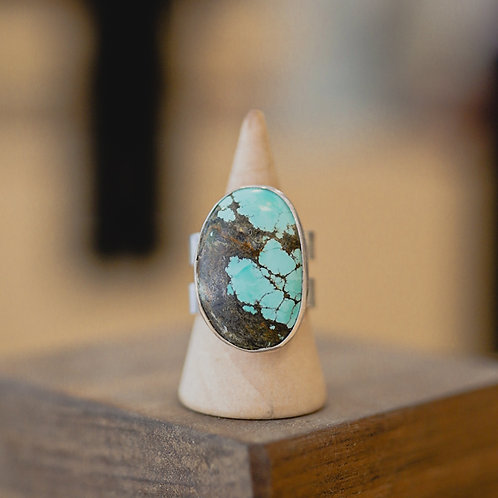 silver turquoise ring 8.25