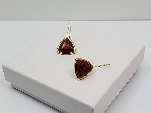 Ipanema Goldstone triangle Earring