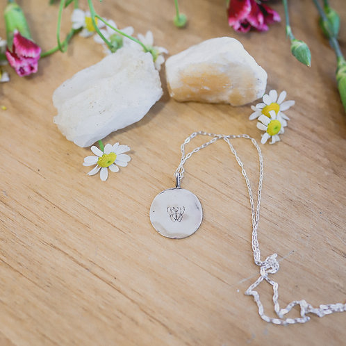 silver butterfly stamped necklace