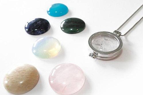 Combo gemstone rhodium necklace