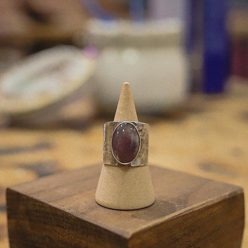 silver purple agate ring 7.5