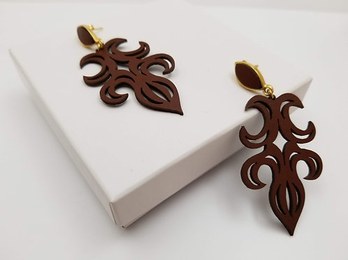 Brown Arabesco 1 leather earring