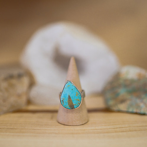 silver turquoise ring 7.25