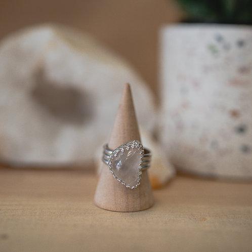 silver tumbled rose quartz ring 7.25