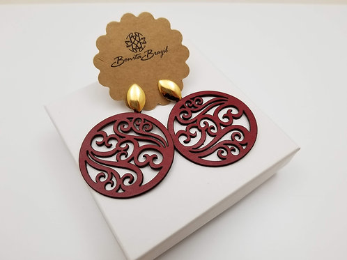 Red Leather Lace earring