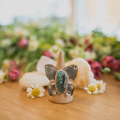 silver turquoise butterfly ring 8