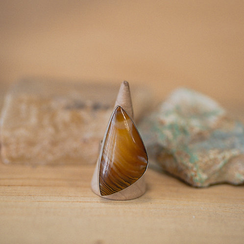 silver agate ring 8.5