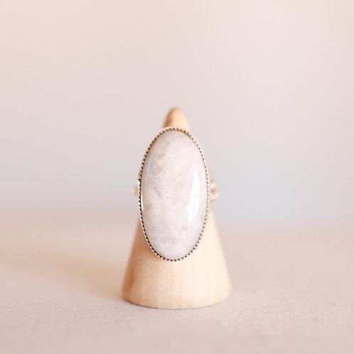 silver rainbow moonstone ring 7.5