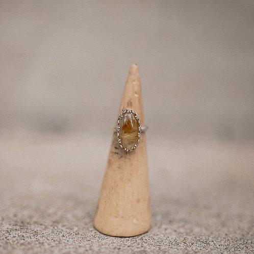silver rutilated quartz ring 5.25
