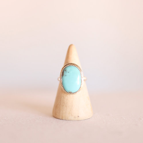 silver turquoise ring 7.75