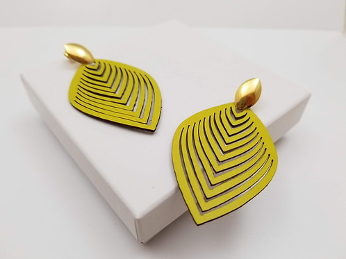 Yellow Leaf Leather earring