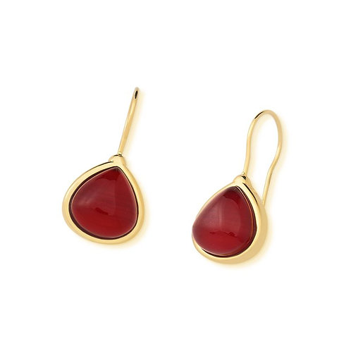 Drop red quartz gemstone earring