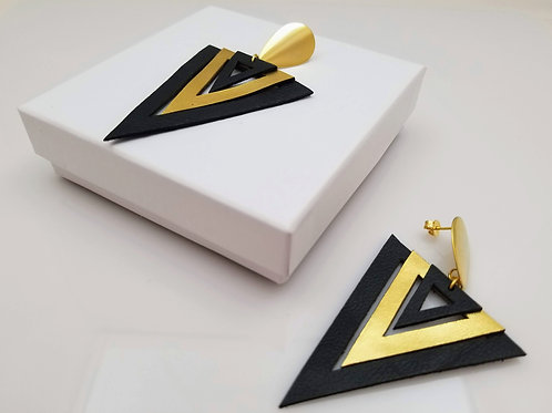 Blackand Gold Triangle Leather