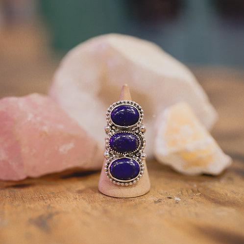 silver lapis lazuli capricorn ring 6.75
