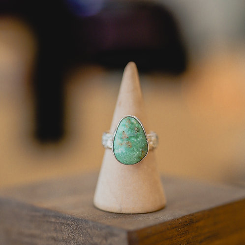 silver turquoise ring 5.25