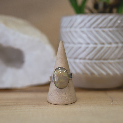 silver opal ring 7.25