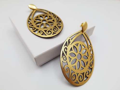 Gold Krishna leather earring