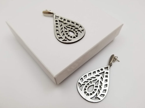 Silver Air Leather Earring