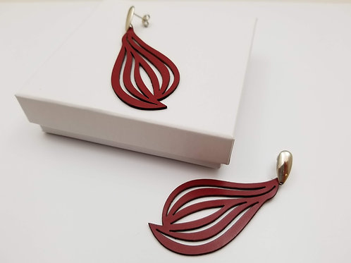 Red Beatriz Leather Earring