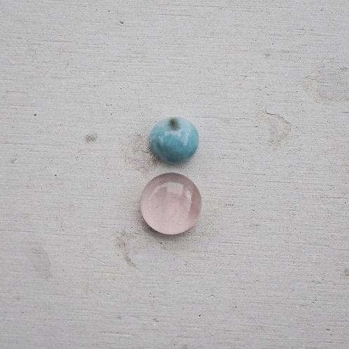 silver larimar and rose quartz gems
