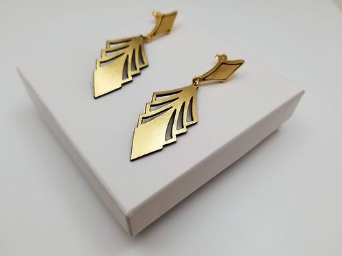 Gold Arrow Leather earring