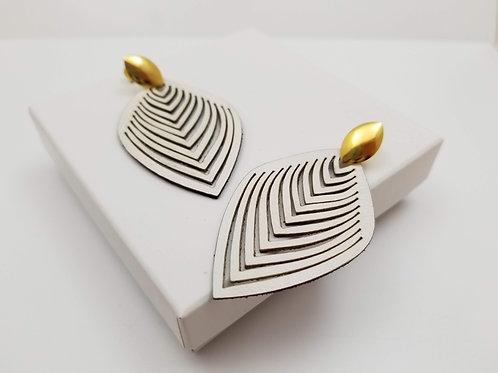 White Leaf Leather earring