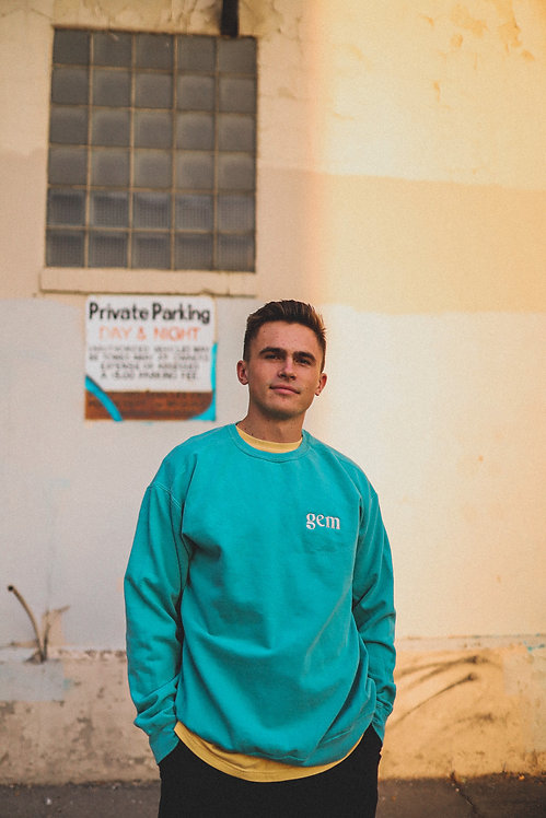 faded turquoise gem crewneck sweatshirt