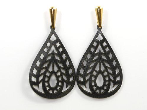 Black Leather Earring