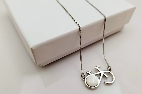 Mother Pearl bike necklace