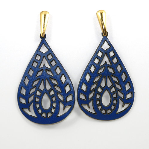 Blue Leather Earring