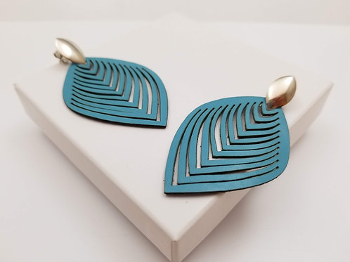Light Blue Leaf Leather earring