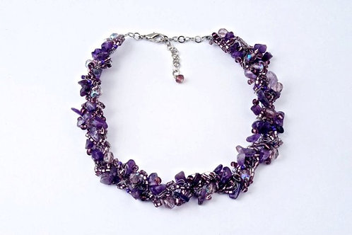 Amethyst thin crochet Necklace