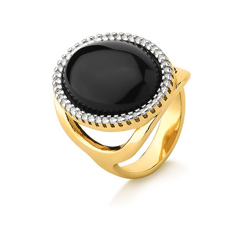 Black Agate and Crystal ring