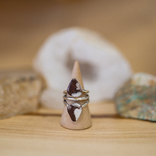 silver wild horse agate ring 7.75