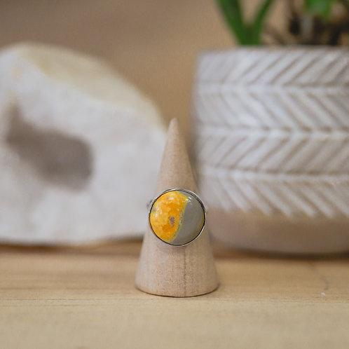silver bumblebee jasper ring 4.75