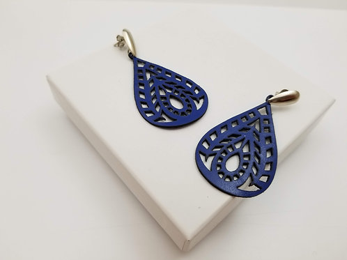 Blue Air Leather Earring
