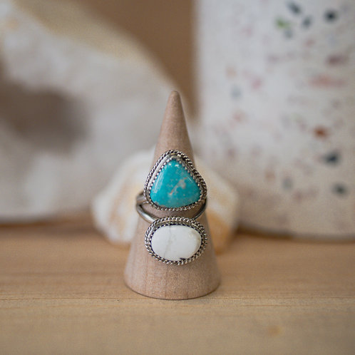 silver buffalo turquoise and turquoise ring 5.75