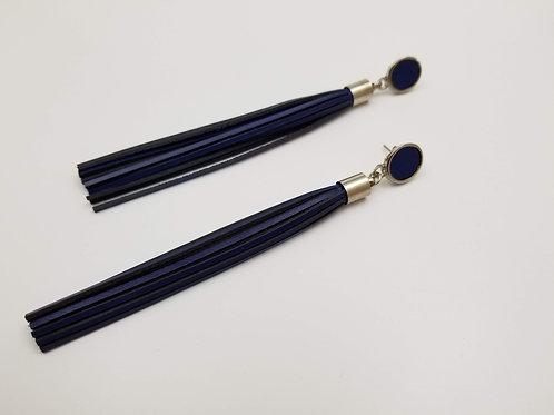 Blue Shower Head Leather earring