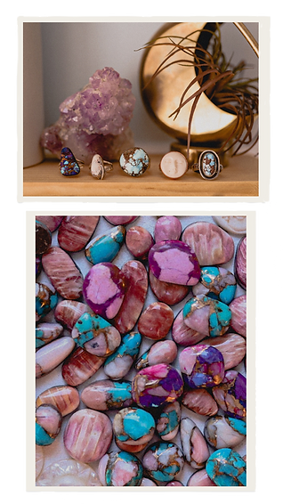 multi colored stones and rings