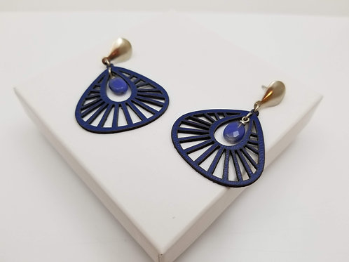 Blue Sofia Leather earring