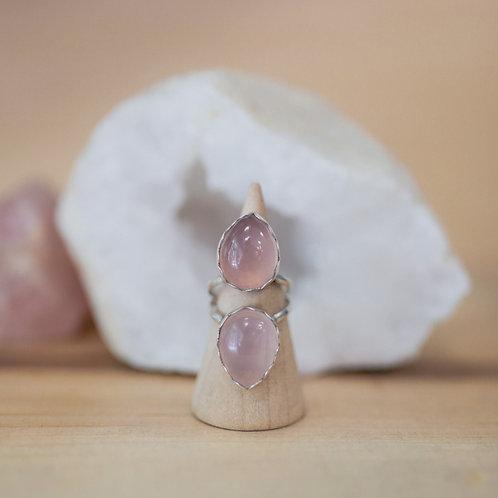 silver rose quartz ring 5.75