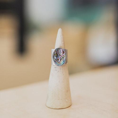silver abalone sheet ring 5.5
